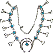 Vintage Faux Turquoise Silvertone Naja Squash Blossom Necklace