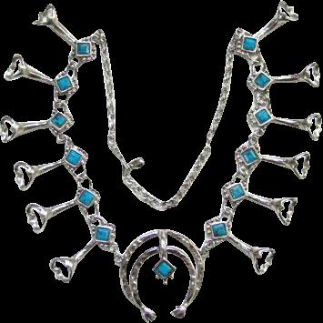 Vintage Faux Turquoise Silvertone Naja Squash Blossom Necklace