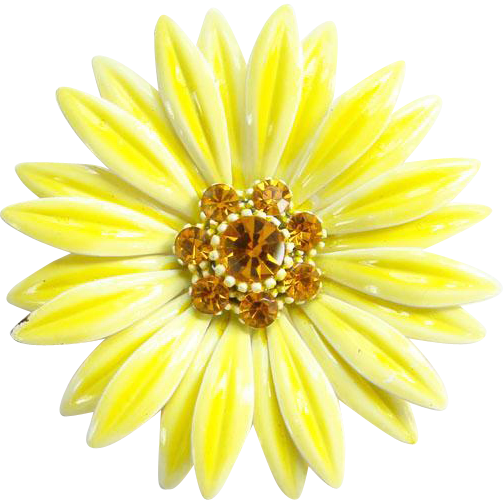 1960s Mod Flower Power Pin Brooch Yellow Petals Amber Rhinestone Center