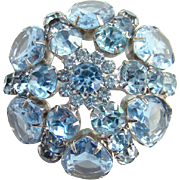 Vintage Light Blue Sapphire Rhinestone Brooch Dome Shape Silvertone Setting Open Back Stones