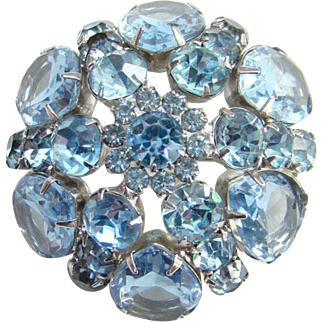 Vintage Light Blue Sapphire Rhinestone Brooch Dome Shape Silvertone Setting Open Back Stones