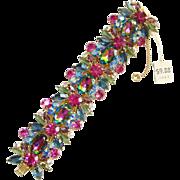 Juliana Large Pink Heliotrope Rhinestone 5 Link Bracelet DeLizza Elster Book Piece Stunning