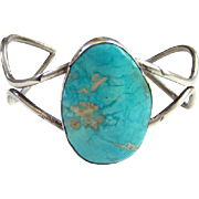 Vintage Native American Turquoise Cuff Bracelet Sterling Silver Signed Louise