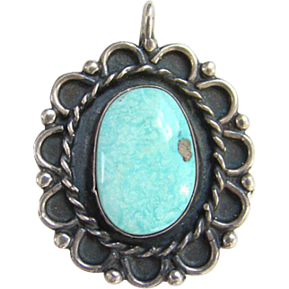 Native American Seafoam Turquoise Necklace Pendant Sterling Silver Gorgeous Stone Vintage