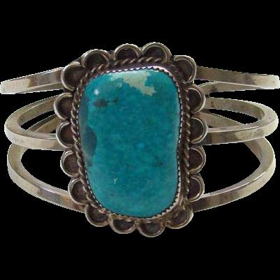 Vintage Navajo Turquoise Sterling Silver Cuff Bracelet Large Stone Heavy Southwestern Bohemian