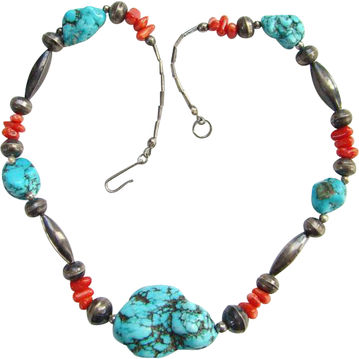 Vintage Southwestern Turquoise Nugget Coral Sterling Melon Bead Choker Necklace