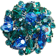 Juliana Montana Blue Teal Green Rhinestone Brooch Bead Dangles DeLizza Elster