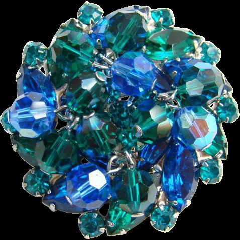 Juliana Montana Blue Teal Green Rhinestone Brooch Bead Dangles DeLizza Elster