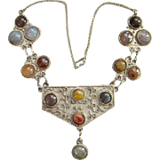 Old India Indian Ethnic Necklace Multistone Agate Gemstones Bohemian Chic Gypsy Handmade