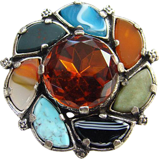 Miracle Faux Agate Glass Pin Brooch Scottish Celtic Large Topaz Rhinestone Signed