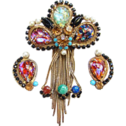 Vintage Foiled Confetti Art Glass Cabochon Rhinestone Brooch Clip Earrings Set Unsigned Beauty