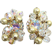 1962 Juliana AB and Metal Filigree Beads Clip Earrings Stunning DeLizza Elster D and E