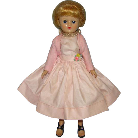 1958 Vogue Jill Doll in Pink Cotton Dress 3161 Blond Ponytail Matches Ginny