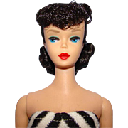 Barbie #5 Ponytail Doll Dark Brunette Raven Black Hair Beautiful Condition Small Green Ear C1961 Really Pretty