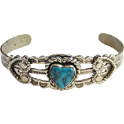 Vintage Bell Trading Post Nickel Silver Turquoise Cuff Bracelet Heart Navajo Native American