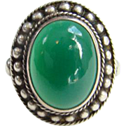 Vintage Sterling Silver and Chrysoprase Ring Size 7.25 Hallmarked Beautiful