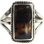 Southwestern Picture Jasper Vintage Sterling Silver Ring Size 5.75