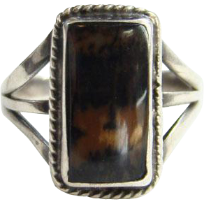 Southwestern Petrified Wood Vintage Sterling Silver Statement Ring Size 5.75