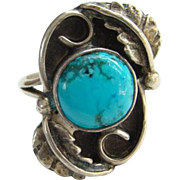 Southwestern Vintage Turquoise Sterling Silver Ring Size 6.25 Indian Jewelry