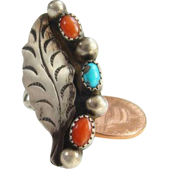 Vintage Navajo Sterling Turquoise Coral Ring Size 6 Southwestern Jewelry