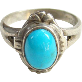 Bell Trading Post Navajo Turquoise Ring Sterling Silver Signed Size 6