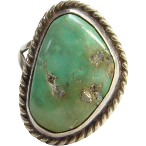 Old Green Turquoise Sterling Silver Ring Size 5.5 Southwestern Boho Chic
