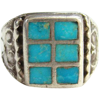 Old Zuni Sterling Silver Inlay Turquoise Ring Size 8.5 Native American