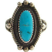 Old Signed JP Southwestern Turquoise Ring Size 6 Crack Chip Native American