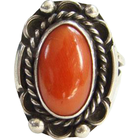 Vintage Navajo Coral Sterling Silver Ring Sie 6.75 to 7 Southwestern Jewelry