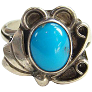 Southwestern Sterling Silver Navajo Turquoise Ring Vintage Size 6.25 Indian Jewelry