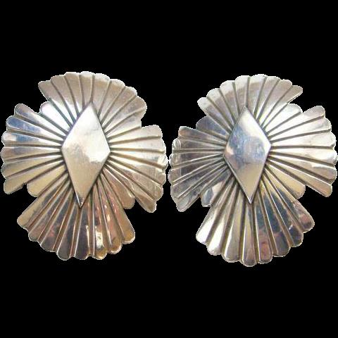 Sterling Silver Navajo Concho Clip Earrings Southwestern Tribal Marked Boho Bohemian