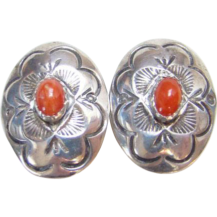 Sterling Silver Coral Concho Clip Earrings Signed LS Sterling Native American Tribal