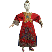 Old Chinese Opera Costume Doll Female Actress Red Costume 10.5 Inch