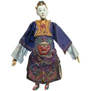 Old Chinese Opera Costume Doll Female Actress Dragon Clouds Embroidery 10 Inch