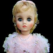 1967-69 Madame Alexander 17in Vinyl Elise Doll in Pink Formal Gown 1755
