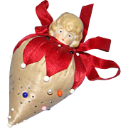 Old Silk Sewing Strawberry Pin Cushion German Porcelain Bisque Doll Head Needlework Tool Pins Needles