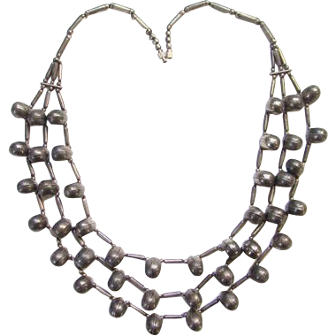 Southwestern Tribal Sterling Silver Necklace Three Strand Seamed Beads 23 Inches Native American