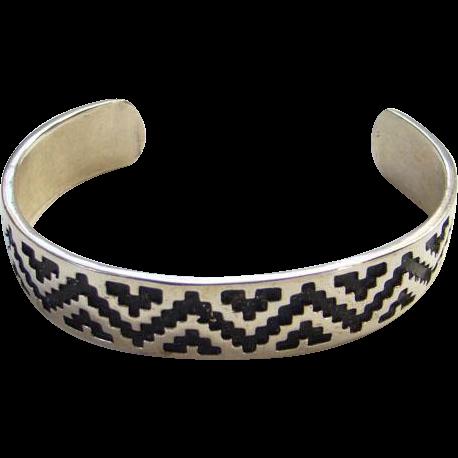 Sterling Silver Overlay Cuff Bracelet J.R. Silversmiths Southwestern Tribal