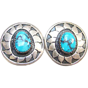 Turquoise Sterling Silver Clip Earrings Signed E.M. White Southwestern Boho Bohemian