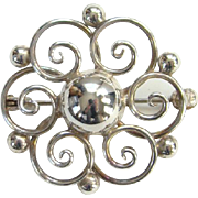 Hermann Siersbol Denmark Danish Modernist Sterling Silver Brooch Pin C1960s-70s