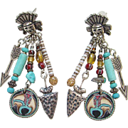 Southwestern Style Kachina Turquoise And Heishi Shell Dangle Pierced Earrings Sterling Silver