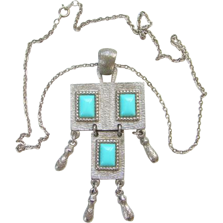 Sarah Coventry Folklore Pendant Necklace 1971 Faux Turquoise Sarah Cov Costume Jewelry