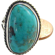 Native American Turquoise Ring Size 8.5 Sterling Silver Beautiful Stone