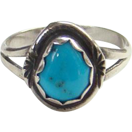 Native American Morenci Turquoise Pinky Ring Size 5.25 Sterling Silver Dainty