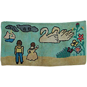 Old C1950s Folky Primitive Hooked Rug Man Woman Ship Swans Flowers Country Home Decor Rustic Farmhouse
