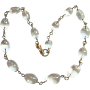 Vintage Art Deco Pools of Light Necklace Graduated Clear Rock Crystal and Brass
