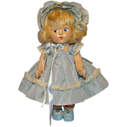 Vogue Toddles 1949 Composition Laury Doll Pre Ginny in Blue Taffeta Outfit 8 Inch