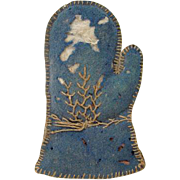 Victorian Sewing Needlebook Pin Holder Blue Wool Mitten Shape Embroidered Detail Made by Child