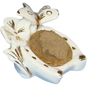 Old Ceramic Porcelain Sewing Pin Cushion Butterfly Flower Horseshoe Germany