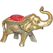 Old Gilt Metal Red Velveteen Elephant Sewing Pin Cushion Needlework Tool